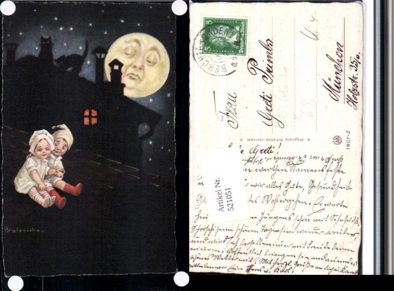 521051,Künstler AK E. Colombo Kinder Dach Mondgesicht Katzen