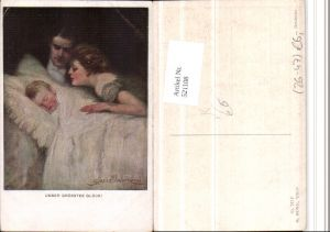 521108,M. Munk Vienne 742F Künstler Clarence F. Underwood Familie Kind Bett