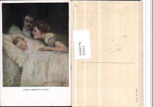 521112,M. Munk Vienne 742F Künstler Clarence F. Underwood Familie Kind Bett