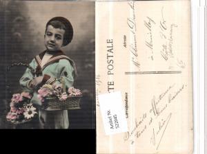 522045,Bub Junge Uniform Matrosenanzug Korb Blumen