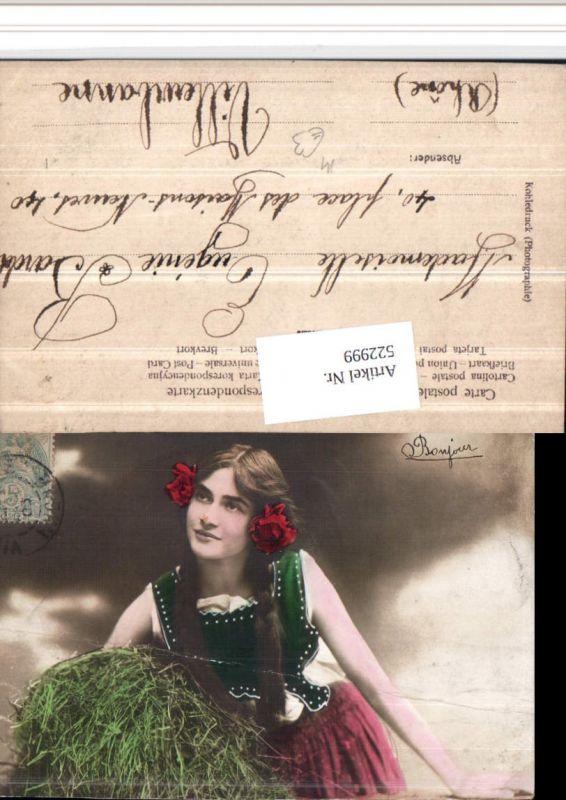 522999,Kohledruck Photographie Frau Portrait Zöpfe Heu