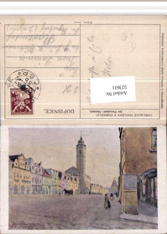 523611,Künstler AK Jan Paroubek Domazlice Taus Namesti Straße