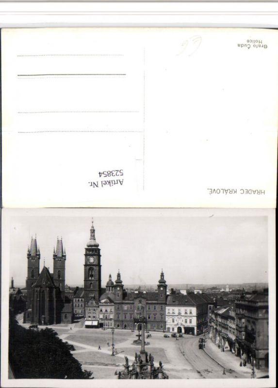523854,Hradec Kralove Platz Kirche Rathaus Säule Brunnen