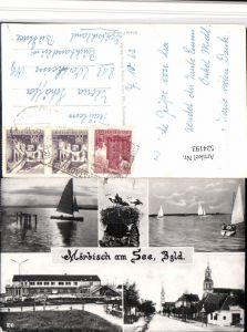 524193,Mörbisch am See Kirche Störche Segelboote Mehrbildkarte