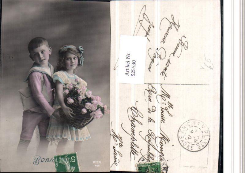 525530,Foto-AK Matrosenanzug Matrose Anzug Mädchen Uniform Junge Blumen