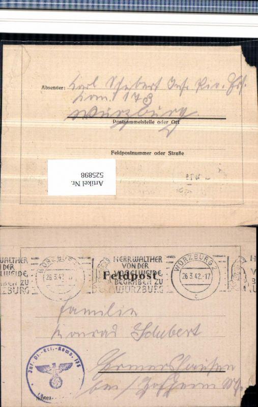 525898,WK 2 Feldpost Inf. Pionier Ers. Abt. Würzburg n. Ermershausen Hofheim