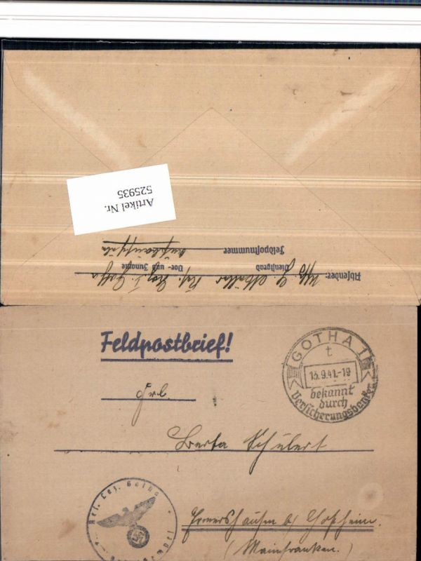525935,WK 2 Feldpost Reserve Lazarett Gotha n. Ermershausen Hofheim