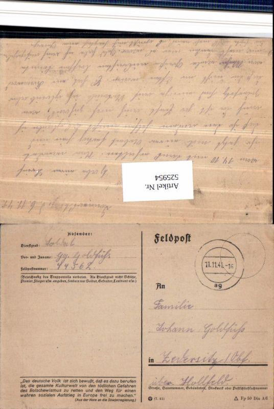 525954,WK 2 Feldpost 44562 n. Zedersitz Hollfeld Wonsees Tarnstempel
