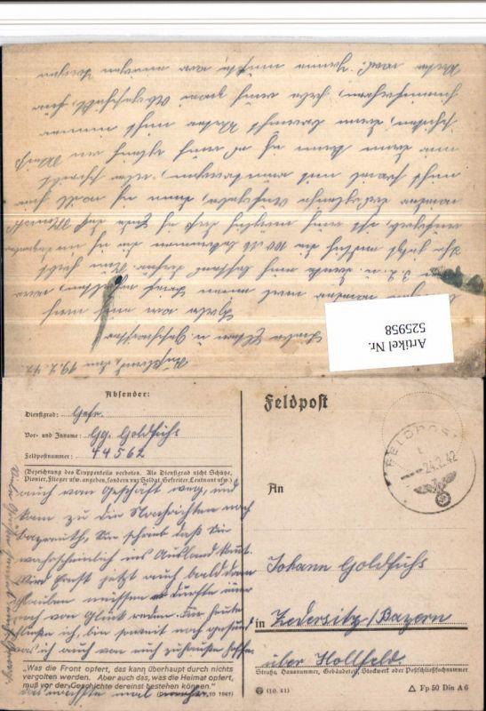 525958,WK 2 Feldpost 44562 n. Zedersitz Hollfeld Wonsees