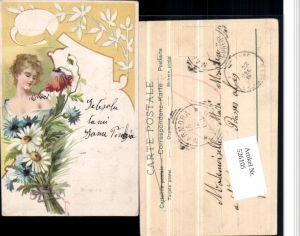 526105,Künstler AK Jugendstil Art Nouveau Litho Blumen Frau