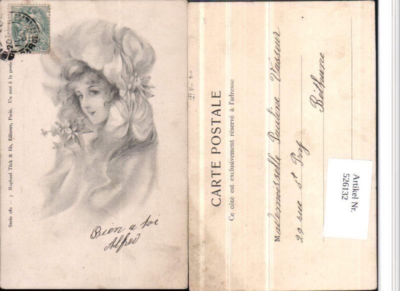 526132,Künstler AK Frau Portrait Mode Art Nouveau Jugendstil pub Tuck Raphael 181-3