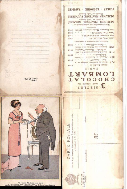 527263,seltene Reklame Klapp-AK Fabiano Chocolat Lombart Paris Humor Frau Mode