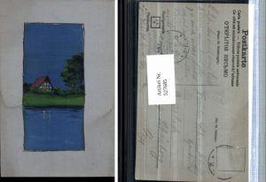 527685,tolle handgemalte Künstler AK Haus See Idylle Handgemalte Poskarten J.F.H.