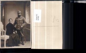 527935,Foto-AK K.K. Armee Soldat Uniform Degen Orden Abzeichen Frau Gebirgsjäger
