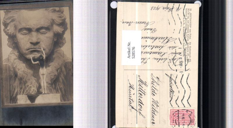 528576,tolle Künstler AK Fidus Nr. 16 Beethoven Akt Erotik Rückenakt
