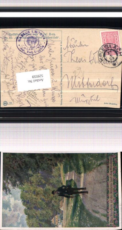 529559,Künstler AK Paul Hey Volksliedkarte Liedkarte 64 wandern