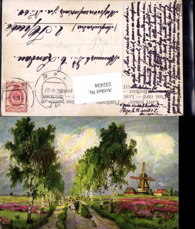 532434,Künstler AK F. Bayerlein Windmühle Mühle Hirte Schäfer Schafe