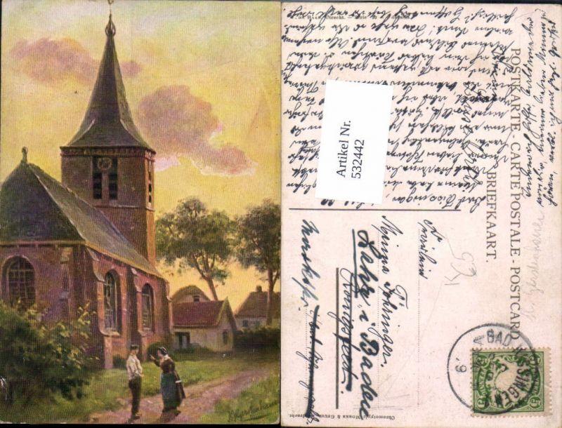 532442,Künstler AK H. Gerstenhauer Kirche Chromotypie