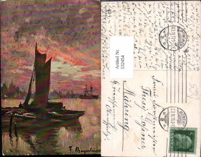 532454,Künstler AK F. Bayerlein Segelschiff Segelboot Hafen