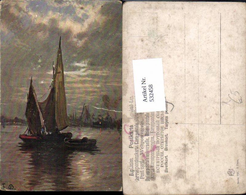 532458,Künstler AK F. Bayerlein Segelboot Boot Segelschiff hafen