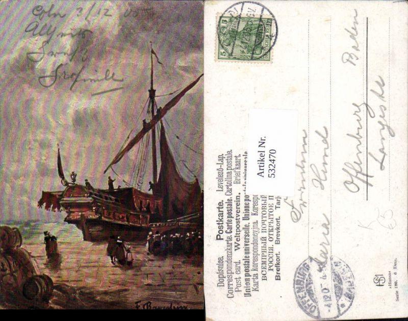532470,Künstler AK F. Bayerlein Segelboot Segelschiff Hafen Hamburg Hansa