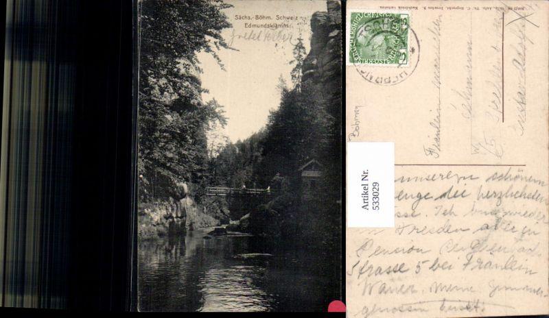 533029,Edmundsklamm Hrensko Herrnskretschen Hinterhermsdorf Böhmen