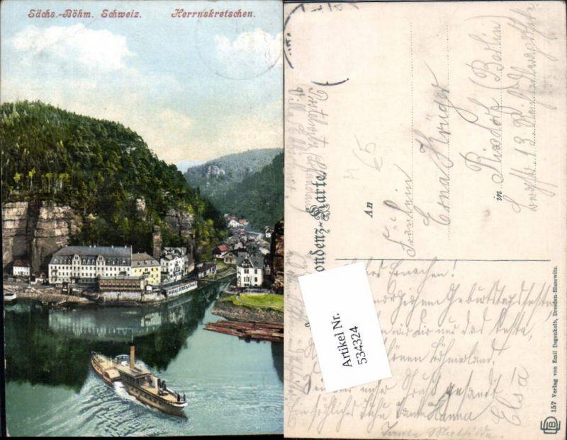 534324,Herrnskretschen Hrensko Dampfer Schiff Böhmische Schweiz