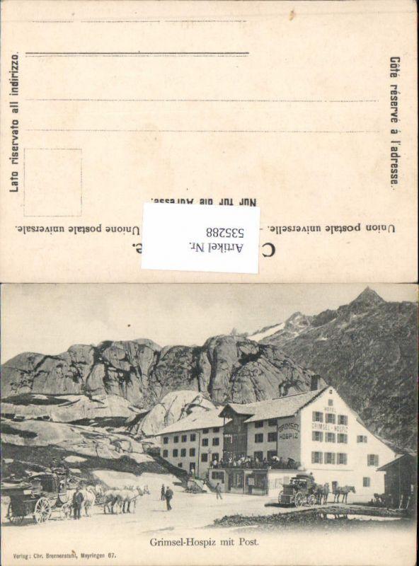 535288,Grimsel Hospiz m. Post Kutsche Postkutsche Oberhasli Bern Guttannen
