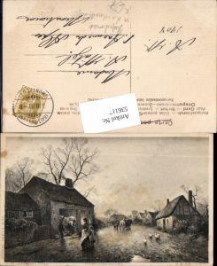 536117,Künstler AK J.W. Gozzard Landwirtschaft Bauern Hufschmied Schmied Pferd