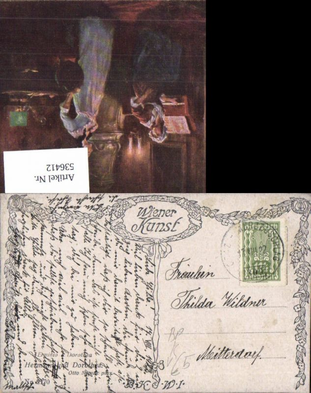 536412,Bahnpost Zug 309 17.8.1922 Graz Mürzzuschlag Otto Novak Dorothea n. Mitterdorf