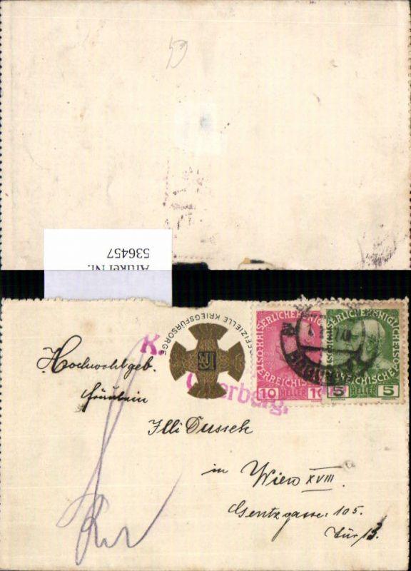 536457,Stempel Kriegsfürsorge Klappbrief n. Wien Währing 1917