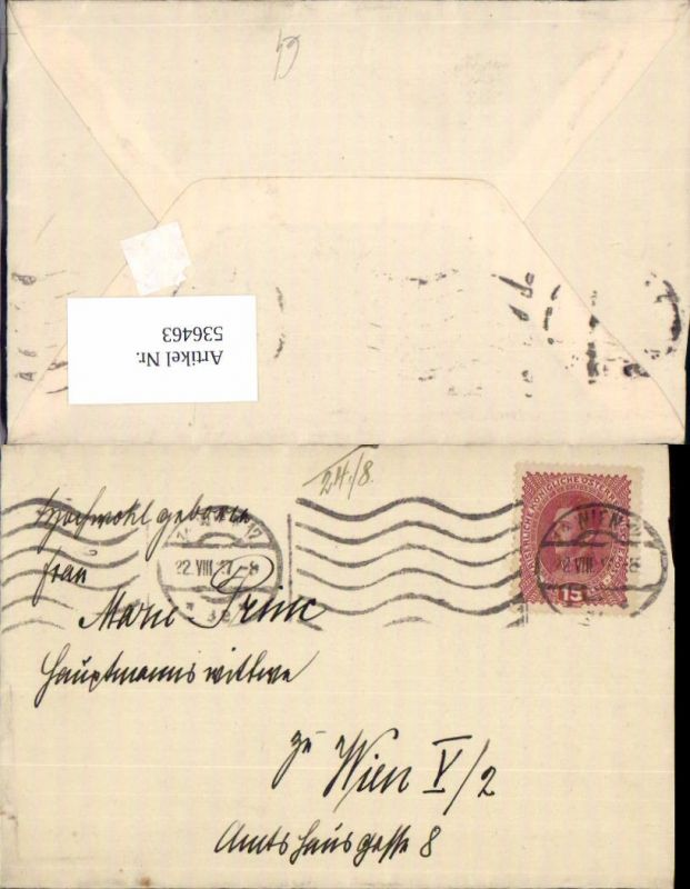 536463,Stempel Wien n. Wien 5 Margareten 1917
