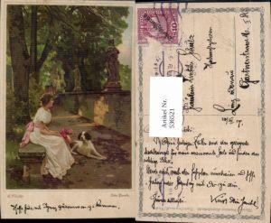 536521,Künstler Litho AK E. Niczky  Hund Frau pub Wenau Brabant