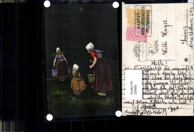 536603,Künstler AK E. Colombo Wasserträgerinnen Wasserträger Kübel Frauen