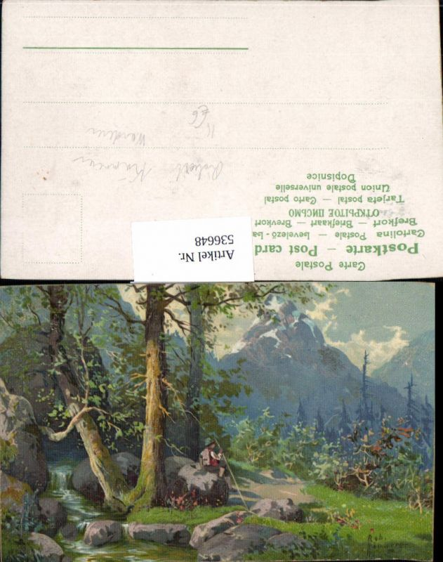 536648,Künstler AK Robert Kämmerer Wanderer wandern Berge