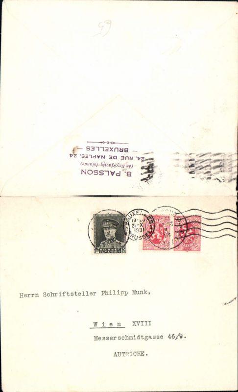 536788,Brief Brüssel nach Wien Währing 18 an Philipp Munk Schriftsteller ohne Inhalt 1931