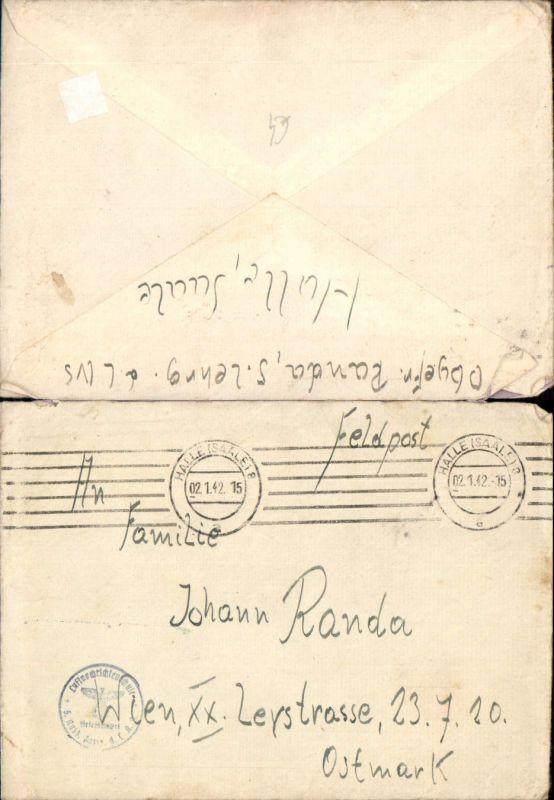 536789,Brief 1942 Feldpost Halle Saale Wien 20 Brigittenau Luftnachrichtenamt