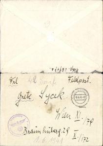 536790,Brief Feldpost 1941 WW2 Tarnstempel n. Wien 11 Dienststelle 08947 A