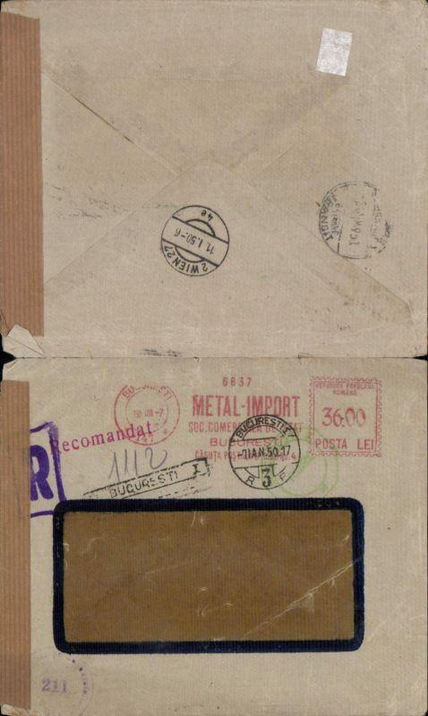 536792,Brief Zensur 1950 Bukarest Bulgarien Bucuresti Reko Einschreiben Reko