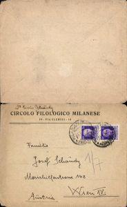 536793,Brief 1930 Milan Milanese n. Wien 15 Rudolfsheim Fünfhaus