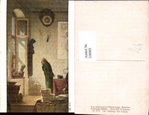 536983,Künstler AK Carl Spitzweg Der Kaktus Uhr Wanduhr Bücher pub Ackermann 2979