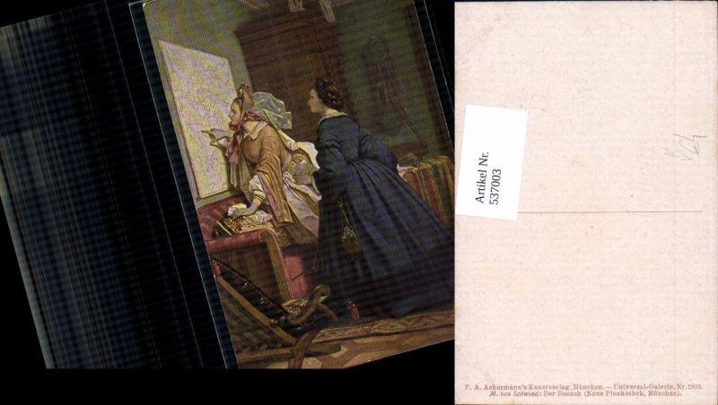 537003,Künstler AK M. v. Schwind der besuch Landkarte pub Ackermann 2933