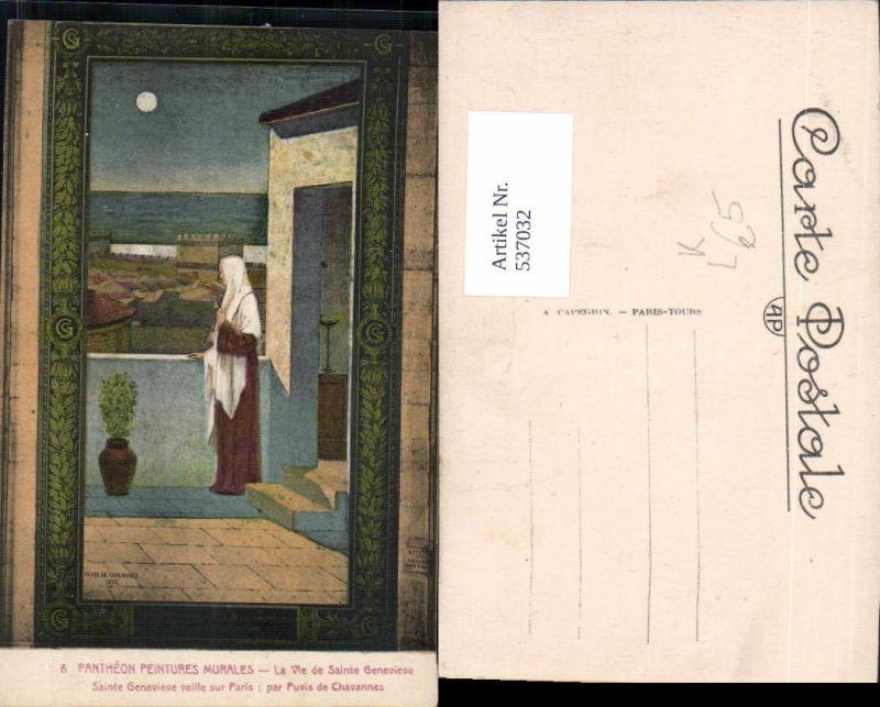 537032,Künstler Litho Puvis de Chavannes La Vie de Sainte Genevieve Heilige Religion