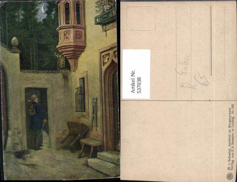 537038,Künstler AK M. v. Schwind Abschied im Morgengrauen Erker Mondsichel
