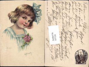 537124,tolle Künstler AK Elly Frank Ella Mädchen Portrait Kind