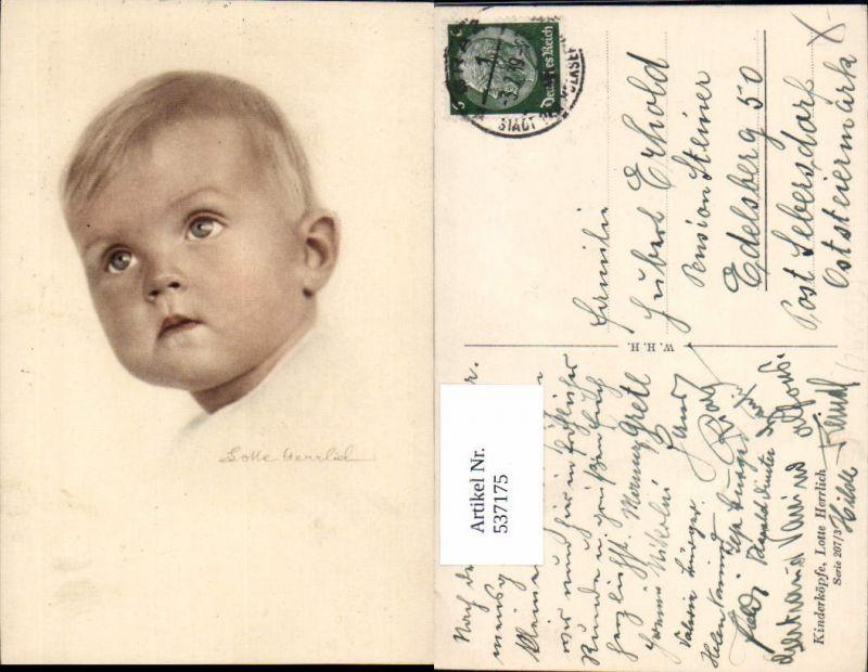537175,tolle Künstler AK Lotte Herrlich Kinderköpfe 207/3 Kind Portrait