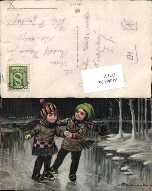 537181,tolle Künstler AK E. Colombo Kinder Eislaufen Schlittschuhlaufen