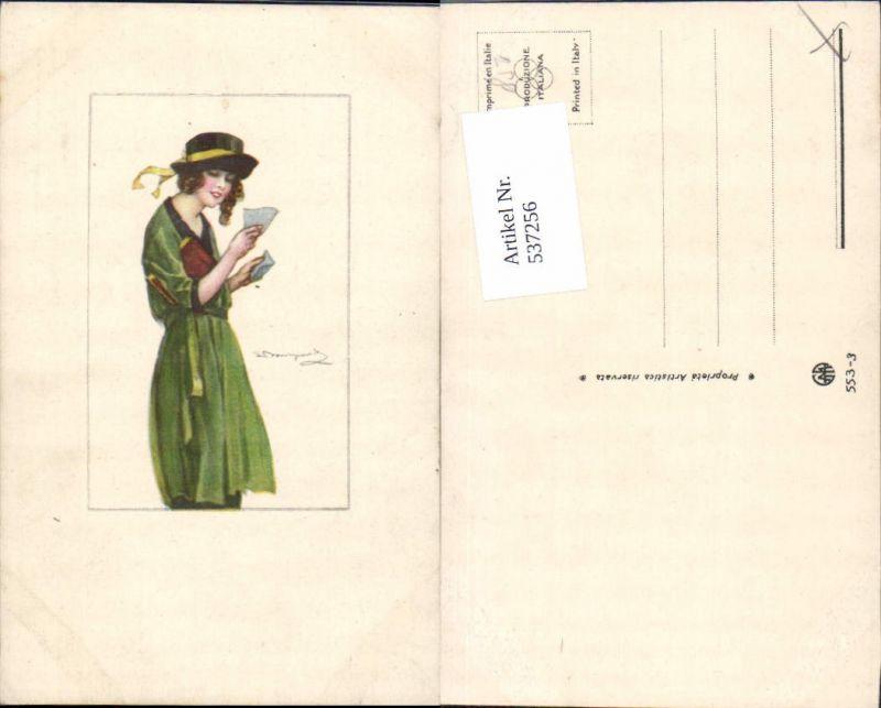 537256,tolle Künstler AK Sergio Bompard Frau Hut liest Brief lesen