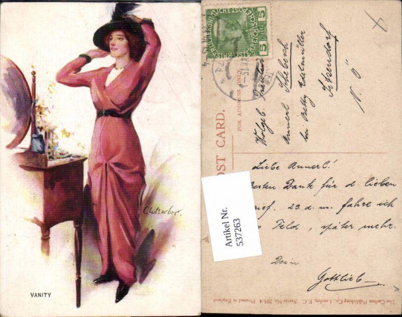 537263,tolle Künstler AK C.W. Barber Frau Mode Glamour Spiegel Erotik