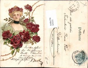 537273,tolle Künstler Jugendstil Lithographie Rosen Art Nouveau